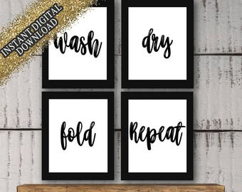 """Laundry Room Wall Decor Set """"Wash, Dry, Fold, Repeat"""" Prints *(Instant Digital Download)*"""
