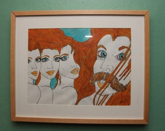 """Orange Mustache and Ladies - 17"""" x 21"""" Acrylic on paper - Framed FREE SHIPPING"""
