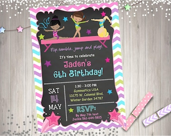 Gymnastics Birthday Invitation Invite chalkboard gymnastics invitation tumbling cartwheels gymnastics party printables CHOOSE YOUR GIRLS