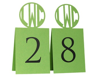 Circle Monogram Table Numbers - initials, table signs