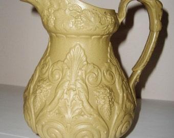Ridgway Jug Bacchus/Pan Relief Molded Stoneware Antique c.1830