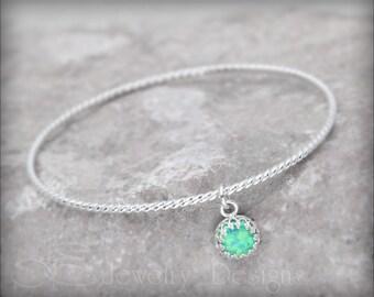 OPAL CHARM BRACELET - opal bracelet, opal bangle bracelet, birthstone charm bracelet, charm bangle, mothers bracelet