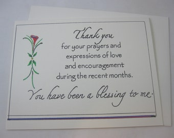 Thank You for Your Prayers - one folded card with envelope