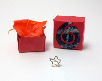 Silver star nose stud, sterling silver 22 gauge nose stud with gift box