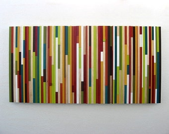 Wooden Wall Art in Red, Green and White 4x48