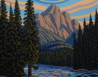 River Day Ends, 24X30, Original Painting, Canadian Artist, Ready to Hang, Gallery Canvas