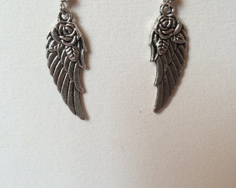 Rose angel wings earrings
