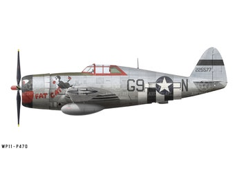 "Airplane Decal - P-47D Thunderbolt ""Fat Cat"" Decorative Vinyl Wall Art"