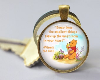 Winnie The Pooh Quote Glass Pendant, Photo Glass Necklace, Glass Keychain