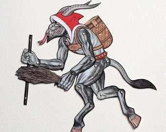 Krampus Articulated Paper Doll, Anti-Claus Christmas Legend