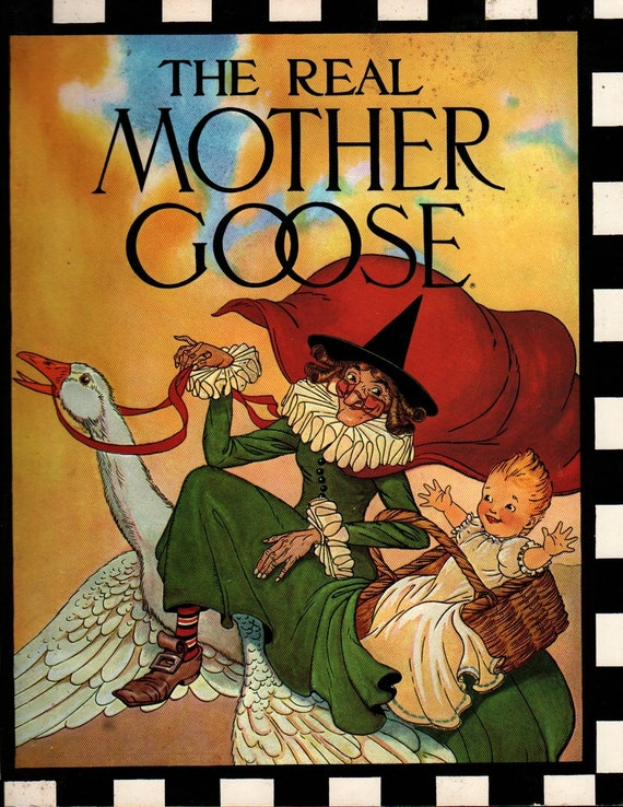 The Real Mother Goose + Blanche Fisher Wright + 1986 + Vintage Kids Book