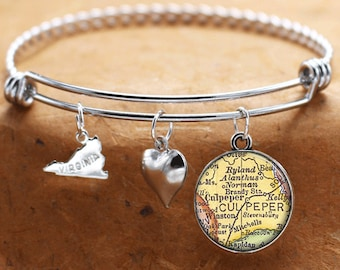Map Charm Bracelet Culpeper Virginia Antique Map State VA Bangle Cuff Bracelet Vintage Map Jewelry Stainless Steel Bracelet