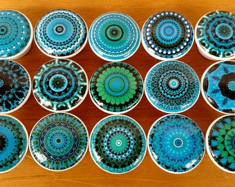 Turquoise Mandala Drawer Wood Knob on Cherry Wood Drawer Pull set of 4 or 6