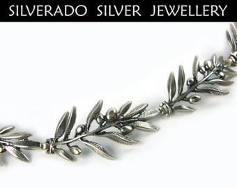 Sterling Silver 925 Ancient Greek Goddess Athena Olive Leaves Fine Handmade Bracelet 18 cm - 7.02 inches