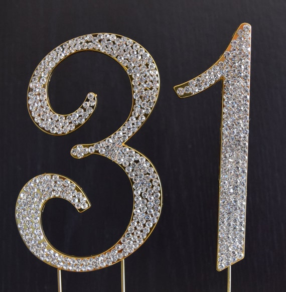 Rhinestone Gold Number 31 Cake Topper 31th Birthday Party