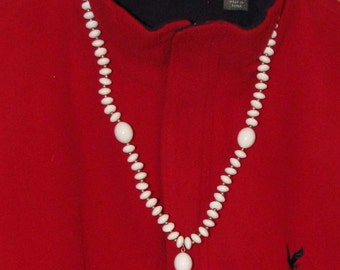 White glass/brass bead necklace, REDUCED