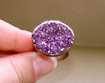 Purple Sparkle Ring - Adjustable Ring - Resin and German Glass