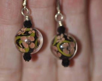 Floral Lampwork Earrings