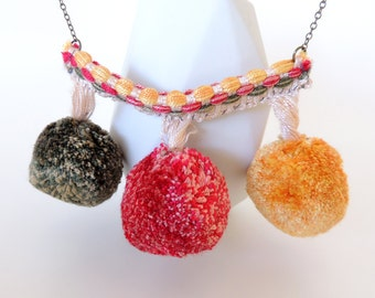 Fun Pom-Pom Necklace! -- Red, Yellow and Green -- Large Embroidered Pendant -- Brass Chain -- UK Shop