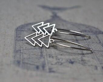 Sterling Silver Triangle Earrings, Silver Chevron Earrings Geometric Jewellery, Modern Silver Jewelry, Trendy Gifts for Her, Girlfriend Gift