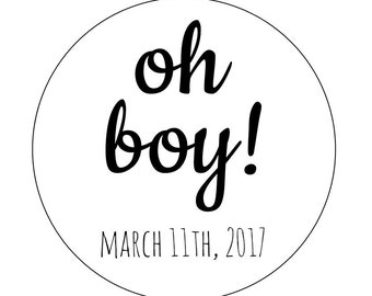 20 Oh Boy Stickers, Baby Shower, It's a Boy, Boy Theme, Oh Baby, Baby Shower Labels, Envelope Seals, Oh Boy Labels, Celebrate, Oh Boy Labels