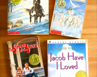 SALE! Vintage Newbery Medal Book Set-4 Paperbacks-Caddie Woodlawn, Jacob Have I Loved, The Grey King, Summer of the Swan-Read-Kids Fiction
