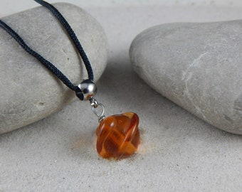 Solitaire necklace * Solstis *-amber yellow pattern