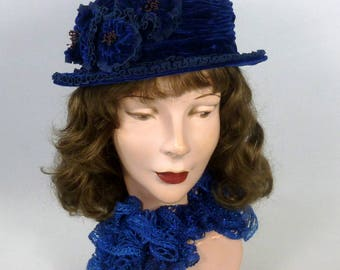 Reproduction of 1920s Velvet Cloche Hat - Handmade from Vintage Silk Velvet - All Blue - Late Edwardian or Gatsby / Downton Abbey Style -