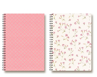 Bullet Journal Notebooks set - Spiral Notebook - Travel Notebook - Recipe Book - Planner - Cute Pink Flowers - Lined | Dotted | Blank - 2N