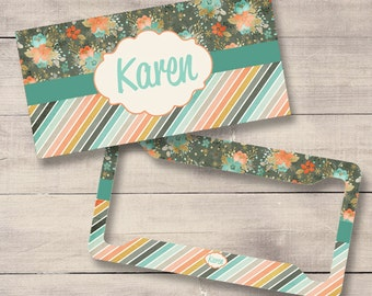 Grey and Teal Monogram License Plate and Frame, Flower License Plate, Mint Car Tag, Personalized License Plate, Monogram Car Tag (0010)