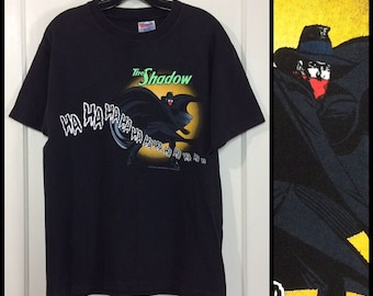 1990s the Shadow knows ha ha ha laughing t-shirt size medium 19.5x26 DC Comics cartoon Super Hero detective cotton from 1994