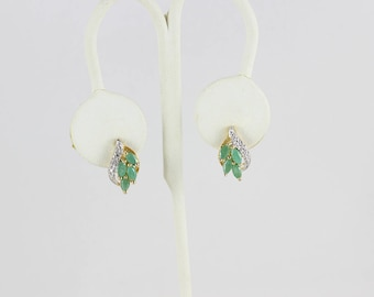 Gold over Sterling Silver Natural Emerald Earrings