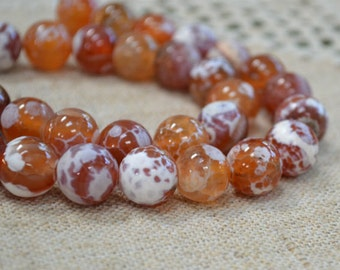28pcs 14mm Natural Gemstone Beads Fire Crackle Agate Round 16 Inches