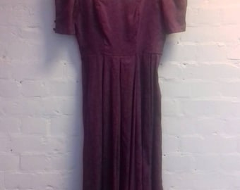 1980's Aubergine Laura Ashley dress - S/M