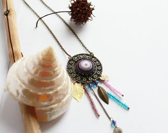 ethnic retro necklace. dream catcher. pink blue purple white fabric