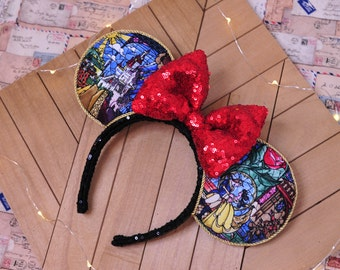 Beauty and the Beast Mouse Ears, Beauty and the Beast Minnie Ears, Belle Mouse Ears, Custom Mouse Ears, Sequin bow, Disney Ears, Gift