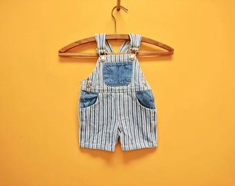 Nineties Striped Denim Baby Overalls (A sweet little pair of vertical striped cotton blue jean overalls for baby size 9 months.)