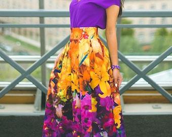 Plus Size Maxi Skirt, Floral Long Skirt, Floral Maxi Skirt, Floral Women Skirt, High Waisted Skirt, Printed Dress, Women Outfit