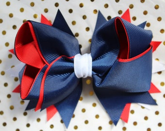Red, White and Blue hair bow clip