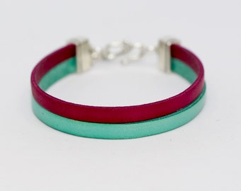 Dark water two-tone green & Fuchsia leather bracelet