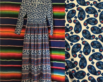 60s Paisley Americana Blue and Red Slinky Maxi Dress Size XS / Small