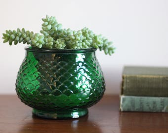 Vintage E O Brody Green Fish Scale Vase
