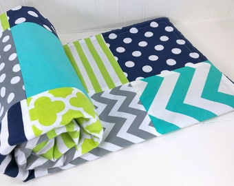 Baby Blanket, Nursery Decor, Minky Baby Blanket, Baby Quilt, Baby Shower Gift, Navy Blue Lime Green Gray Turquoise Baby Boy