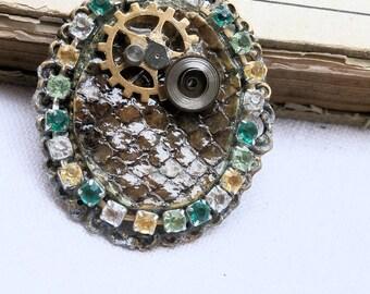 snake, python, steampunk pendant whith real snakeskin, clock movements, ooak pendant