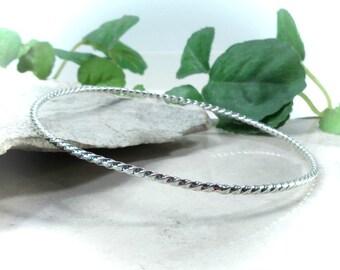 Sterling Silver Bangle Bracelet Dotted Twist - Stacking Bracelet, Layering Bracelet, Silver Bangle Bracelet, Twist Bangle Bracelet, Minimal