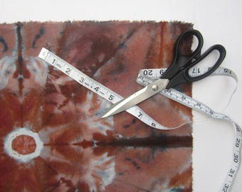 Raw Silk Fabric Panel, Hand Dyed in Browns with Indigo Accents
