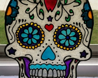 Faux Stained Glass, Day of the Dead, Sugar Skull, Dia de los Muertos, Hand Painted, Window Art, Unique Gifts