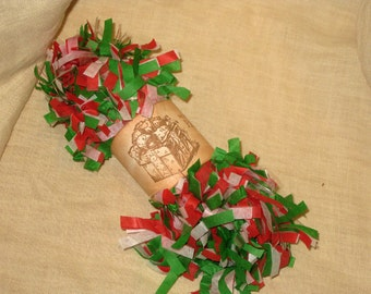Tissue Paper Garland Festoon Christmas Tri Color 4 Yards  Holly Jolly Christams