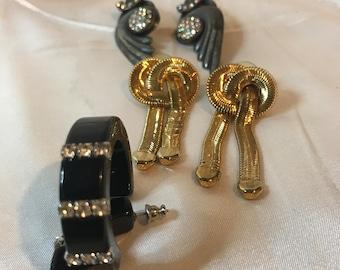 3 Pairs Vintage Pierced Earrings