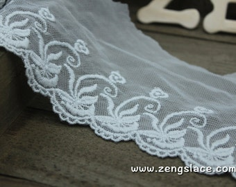 Light grey mesh lace trim with cotton embroidery patterns, lace edging, doll lace, soft lace, lace by the yard/EE-43